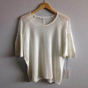 Duffy White Linen Sheer Knit Top
